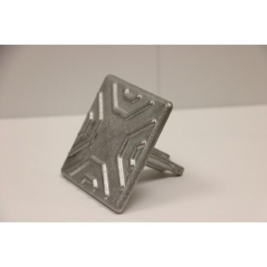 Road Stud - Square 100mm Ribbed Aluminium