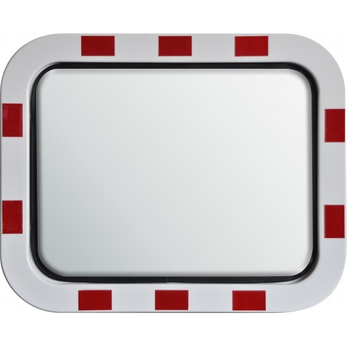 Stainless Steel Mirror - Red and White Border - 600mm x 450mm