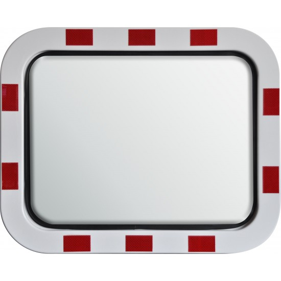 Safety Mirror - Roads and Traffic - Stainless Steel - Red and White Border - 600mm x 450mm