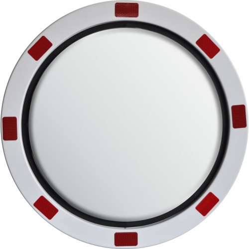 Stainless Steel Mirror - Red and White Border - 600mm