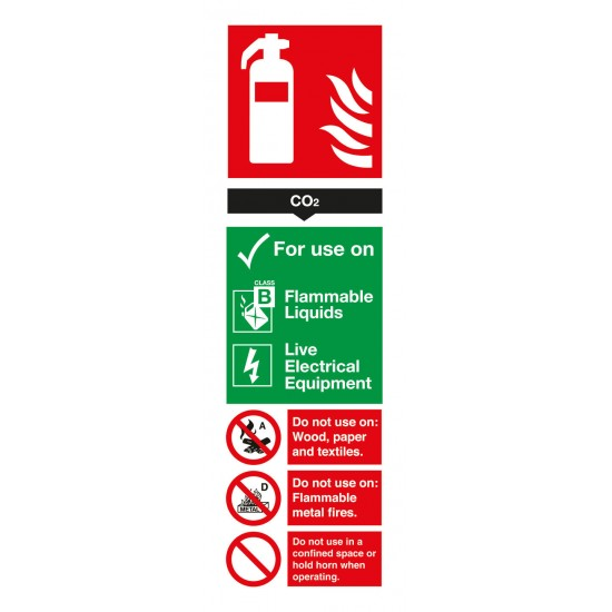 CO2 Extinguisher sign For Use On - Rigid