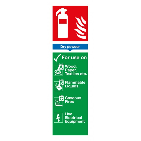 Dry Powder Extinguisher For Use On sign - Rigid