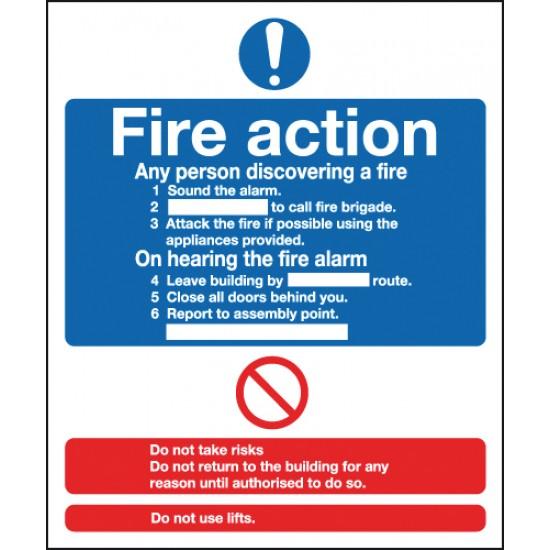 Fire Action Notice sign - Rigid