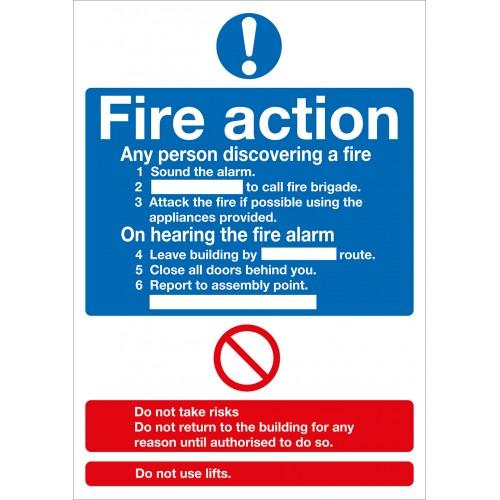 Sign - Fire Action Notice Symbolised - Rigid