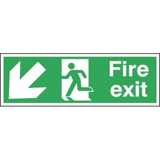 Fire Exit Running Man Arrow Down Left sign - Rigid