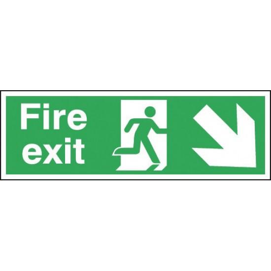 Fire Exit Running Man Arrow Down Right sign - Rigid