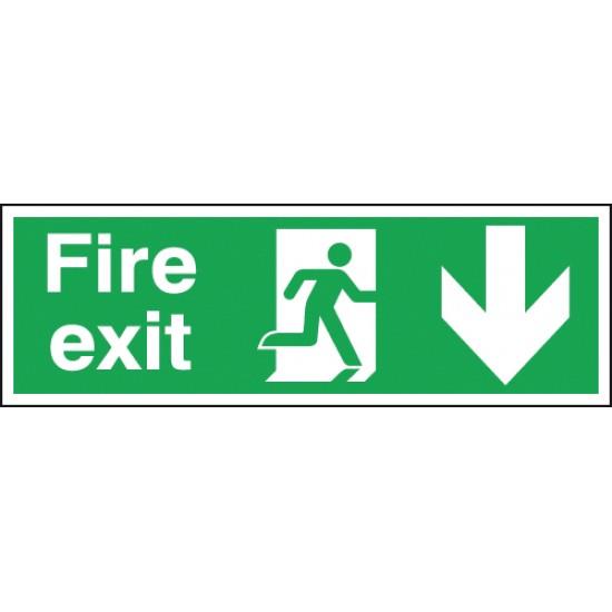 Fire Exit Running Man Arrow Down sign - Rigid
