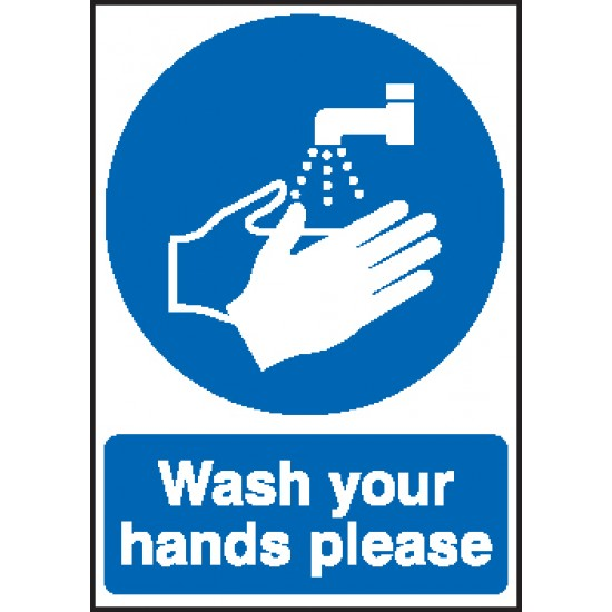 COVID 19 Sign - Wash Your Hands Please - Self Adhesive