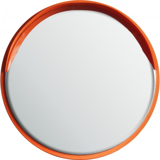 Safety Mirror - Roads and Traffic - Stainless Steel - Orange Border