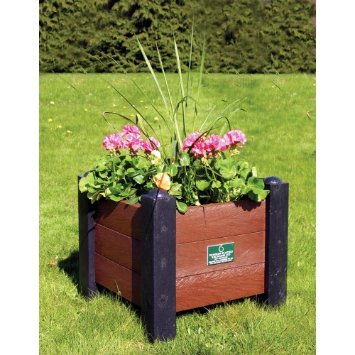 Recycled Planter - Square with Corner Posts - Black/Brown
