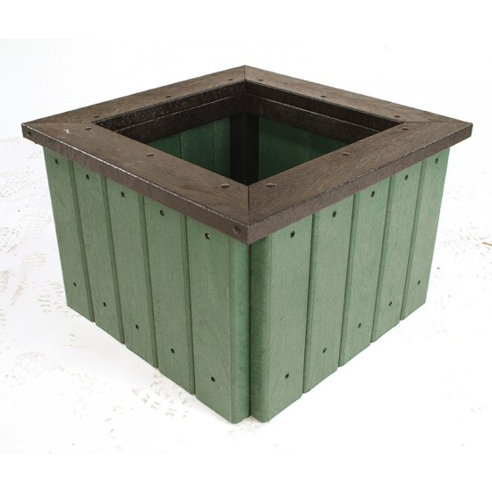 Recycled Planter - With Rim - Olive Green - Square