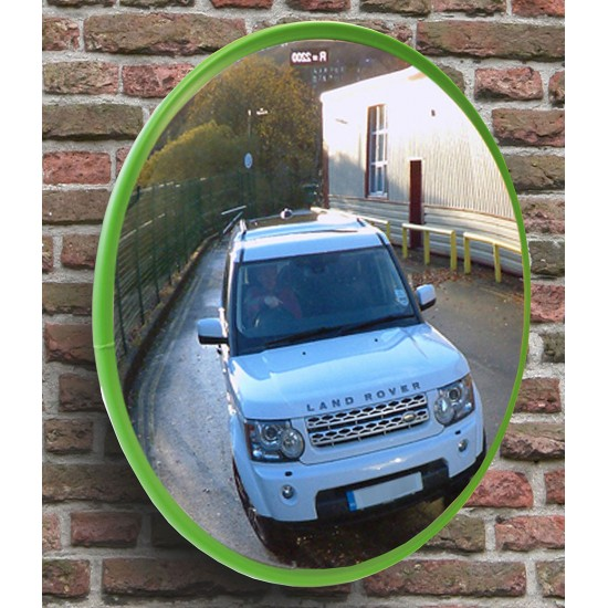 Safety Mirror - Roads and Traffic - Stainless Steel - Green Border