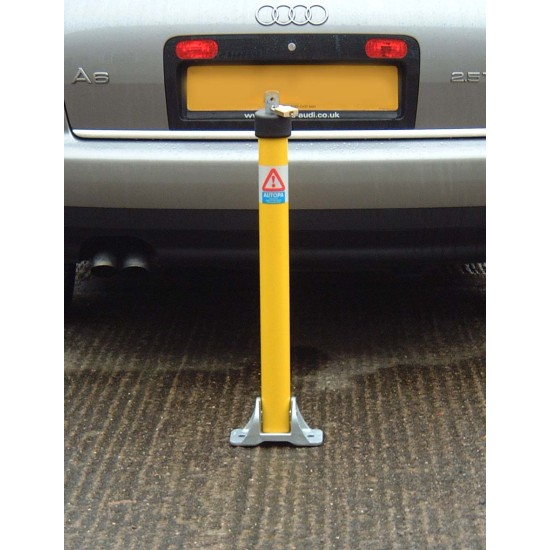 Parking Post, folding, top lock, Coated Yellow