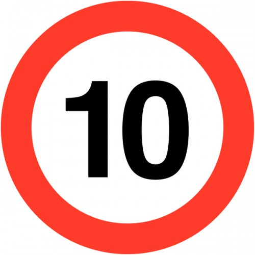 Sign - 10mph Class 1 Reflective Traffic Sign 600mm