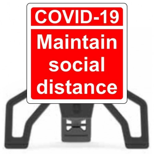 Covid19 Maintain Social Distance with Sign Frame