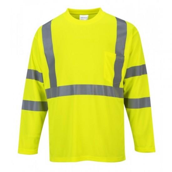 Hi Visibility Long Sleeve Pocket T-Shirt