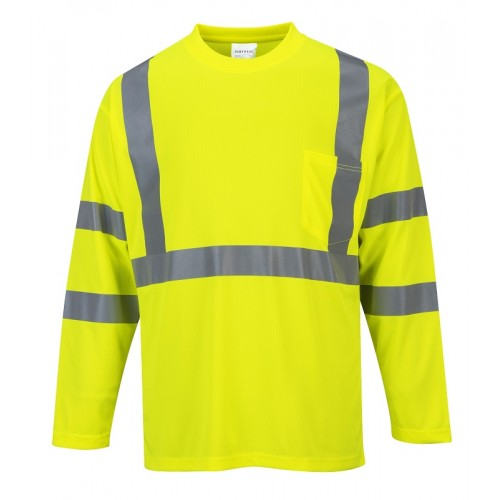 Hi Visibility Long Sleeve Pocket T-Shirt