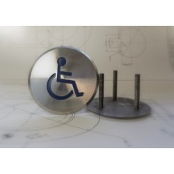 Demarcation Stud - Stainless Steel - Engraved Disabled-  Size options 80mm and 100mm